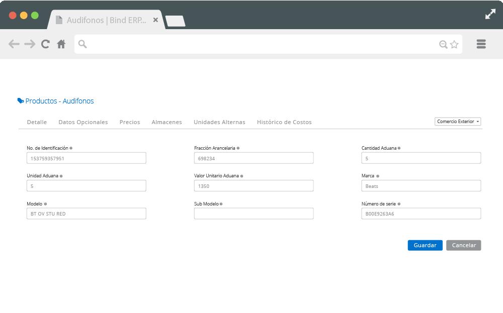Pantalla de Configuración de Bind ERP para habilitar pagos en línea por medio de PayU.